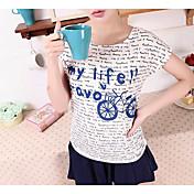 Mujer Simple Casual/Diario Camiseta,Escote Redondo A Rayas Manga Corta Algodón