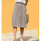 Mujer Noche Hasta la Rodilla Faldas,Línea A Verano Bloque de Color