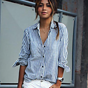 Mujer Simple Chic de Calle Casual/Diario Verano Camisa,Cuello Camisero A Rayas Manga Larga Algodón