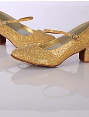 Feminino Moderna Gliter Courino Têni Interior Com Glitter Salto Personalizado Dourado Personalizável