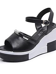 Feminino Sapatos Couro Ecológico Verão Conforto Sandálias Rasteiro Peep Toe Pedrarias Para Casual Branco Preto