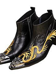 Pánské Obuv Nappa Leather Podzim Zima Pohodlné Novinky Módní obuv Boty Kotníčkové Nýty Zip Pro Party Černá Červená