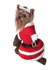 犬 コスチューム 犬用ウェア クリスマス 純色 レッド