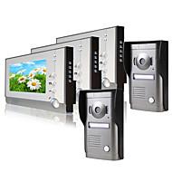 Três monitor de 7 polegadas de vídeo porta de vídeo sistema de telefone (2 alavanca de proteção à prova de intempéries)