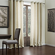 Two Panels Curtain Modern , Solid Living Room Polyester/Cotton Blend Faux Linen Material Curtains Drapes Home Decoration For Window