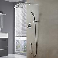 Moderne Système de douche Douche pluie Douchette inclue with  Soupape céramique 4 trous Mitigeur quatre trous for  Chrome , Robinet de