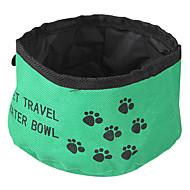 ネコ 犬 餌入れ/水入れ ペット用 ボウル&摂食 折り畳み式 レッド グリーン ブルー 織物