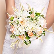 """Bryllupsblomster Rund Roser Buketter Bryllup Silke Oransje 10.24""""(Ca.26cm)"""