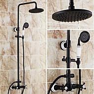 Antique Baignoire et douche Douche pluie Douchette inclue with  Soupape céramique 3 trous Deux poignées trois trous for  Bronze huilé ,