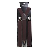 Dark Brown Solid Nylon Suspender