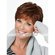Mulher Perucas de cabelo capless do cabelo humano Castanho Escuro Curto Corte Pixie Corte em Camadas Com Franjas Parte lateral