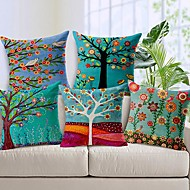 conjunto de 5 bela algodão árvore flor / linho fronha decorativo