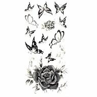 1 - 18.5*8.5cm - Πολύχρωμο Σειρά Λουλουδιών - Αυτοκόλλητα Τατουάζ - Μοτίβο/Χαμηλά στην Πλάτη/Waterproof - από Χαρτί για Γυναικεία/Ενήλικες/Εφηβικό