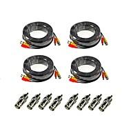 annke® paquet de 4 câbles d'extension de caméra de sécurité de puissance audio vidéo 100ft de 30m avec bonification BNC connecteurs RCA