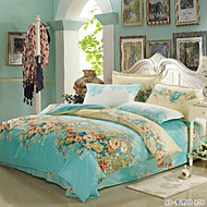 Azul Claro Floral Impressão Reactiva 1pç  Capa de Edredon