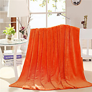 Korallfleece Oransje,Trykket Solid Bomull/Polyester tepper W79XL91inch(W200XL230cm)