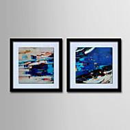 olieverf moderne abstracte de hand beschilderd doek met gespannen ingelijst - set van 2