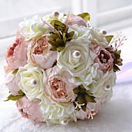 Bryllupsblomster Rund Roser Buketter Bryllup Polyester Sateng Perle Skum 9.45 tommer (ca. 24cm)