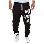A bărbaților Pantaloni Drăguți Amestec Bumbac Print Casual Negru / Alb / Gri