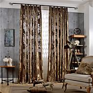 2개 판넬 러스틱 / 모던 / 네오클래식 꽃 / 식물 멀티-색상 침실 폴리에스터 패널 커튼 커튼