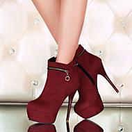 Feminino-Botas-Botas da Moda-Salto Agulha-Preto Azul Vermelho-Courino-Ar-Livre Escritório & Trabalho Casual