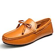 남성 보트 신발 모카신 내파 가죽 여름 가을 캐쥬얼 파티/이브닝 블랙 다크 블루 밝은 브라운 플랫