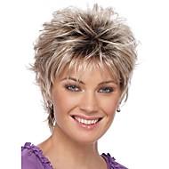 Naisten Synteettiset peruukit Suojuksettomat Lyhyt Kihara Hopea Liukuvärjätyt hiukset Tummat juuret Luonnollinen hiusviiva Pixie-leikkaus