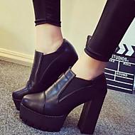 Naiset Kengät Tekonahka Kevät Syksy Comfort Chelsea boot Piikkikorko Käyttötarkoitus Kausaliteetti Puku Musta