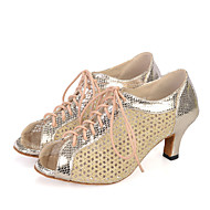 Sapatos de Dança(Preto / Vermelho / Dourado) -Feminino-Personalizável-Dança do Ventre / Latina / Jazz / Tênis de Dança / Moderna / Samba
