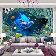 JAMMORY Animal / Landscape Canvas Print One Panel Ready to Hang,Vertical Underwater World 3d large mural of dolphins