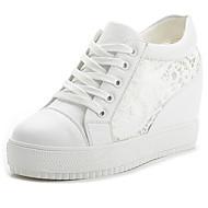 Feminino Sapatos Courino Primavera Verão Outono Rasteiro Plataforma Cadarço Para Casual Branco Preto