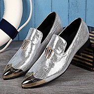 Masculino sapatos Couro Primavera Verão Outono Inverno Inovador Oxfords Bico Metálico Para Casamento Festas & Noite Prata Dourado