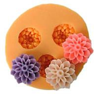 פרחי שרף כלים יצקו תבניות הסוכר קרפט שלושה תא עובש הקטן הפרח סיליקון Mould תבניות לעוגות