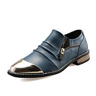 Masculino sapatos Couro Verão Outono Conforto Mocassins e Slip-Ons Bico Metálico Ziper Para Casamento Casual Festas & Noite Preto Marron