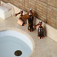 Moderni Kolmiosainen Vesiputous / Widespary with  Keraaminen venttiili Kaksi kahvaa kolme reikää for  Ruusukulta , Kylpyhuone Sink hana