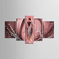 Maalattu Abstrakti / Maisema / Asetelma / FantasyModerni 5 paneeli Kanvas Hang-Painted öljymaalaus For Kodinsisustus