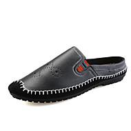 Férfi Vitorlás cipők Mokaszin Könnyű talpak PU Nyár Ősz Hétköznapi Mokaszin Könnyű talpak Fekete Barna Kék Lapos