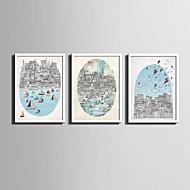 Paisagem / Desenhos Animados Quadros Emoldurados / Conjunto Emoldurado Wall Art,PVC Branco Sem Cartolina de Passepartout com frameWall