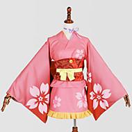 Inspirat de Cosplay Cosplay Anime Costume Cosplay Costume Cosplay Kimono ImprimeuCravată Yukata Accesoriu de Păr Corset Accesoriu Talie