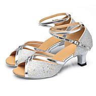 Niet Aanpasbare - Voor dames - Dance Schoenen (Rood/Zilver/Anders) - met Cubaanse hak - en Buikdansen/Latijn/Samba