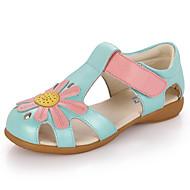 女の子 サンダル レザー 夏 カジュアル アップリケ フラットヒール ホワイト ブルー ピンク フラット