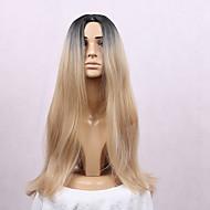 Vrouw Synthetische pruiken Zonder kap Lang Recht Blond Ombre-haar Donkere wortels Middenscheiding Black Pruik Kostuumpruiken