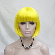 Mulher Perucas sintéticas Sem Touca Liso Amarelo Corte Bob Peruca para Cosplay Peruca de Halloween Peruca de carnaval Perucas para