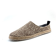 Kényelmes-Lapos-Női cipő-Papucsok & Balerinacipők-Alkalmi-Vászon-Fekete Bézs Khaki