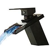 Moderni Integroitu LED / Vesiputous with  Keraaminen venttiili Yksi kahva yksi reikä for  Oil-rubbed Bronze , Kylpyhuone Sink hana