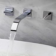 Nykyaikainen Seinäasennus Vesiputous with  Keraaminen venttiili Kolme reikää Kaksi kahvaa kolme reikää for  Kromi , Kylpyhuone Sink hana