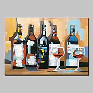suuri käsin maalattu abstrakti viinipullon öljyvärimaalaus kankaalle seinälle venytetty runko valmiina ripustaa