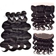 Hår Veft Med Lukker Indisk hår Krop Bølge 4 deler hår vever