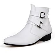 Herre-PU-Flat hæl-Komfort-Støvler-Fritid-Svart Brun Hvit