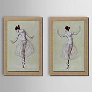 Pintados à mão Abstracto / Pessoas / Fantasia Pinturas a óleo,Modern / Tradicional / Estilo Europeu 2 Painéis TelaHang-painted pintura a